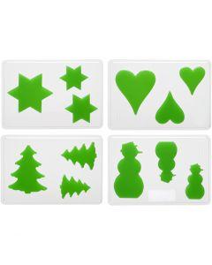 Gjutformar, jul, H: 6+8+10 cm, stl. 14,9x22 cm, 4 st./ 1 förp.
