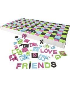 Dekorgummibokstäver- och siffror, stl. 30x30 mm, svart, grön, rosa, turkos, 1800 mix./ 1 förp.
