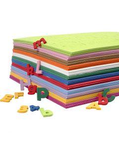 Dekorgummibokstäver- och siffror, H: 20 mm, mixade färger, 24 mix. ark/ 1 förp.