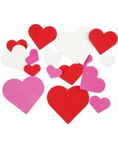 Dekorgummihjärtan, stl. 20-50 mm, mixade färger, 200 mix./ 1 förp.