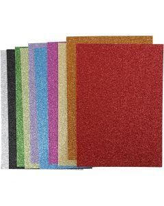 Dekorgummi, A4, 210x297 mm, tjocklek 2 mm, glitter, mixade färger, 10 mix. ark/ 1 förp.