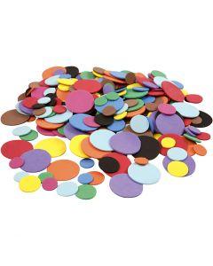 Dekorgummicirklar, Dia. 12+20+32 mm, mixade färger, 2120 mix./ 1 förp.