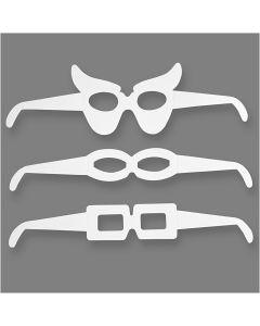 Glasögon, H: 4,5-10 cm, L: 32 cm, 230 g, vit, 16 st./ 1 förp.
