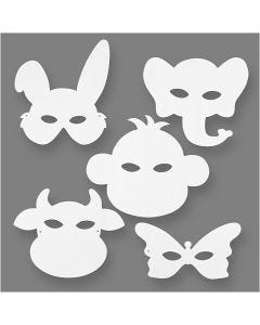 Djurmasker, H: 13-24 cm, B: 20-28 cm, 230 g, vit, 16 st./ 1 förp.