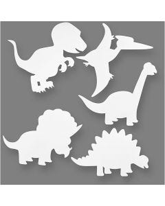 Dinosaurier, H: 15-22 cm, B: 24-25 cm, 230 g, vit, 16 st./ 1 förp.