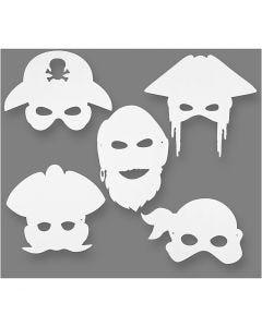 Piratmasker, H: 16-26 cm, B: 17,5-26,5 cm, 230 g, vit, 16 st./ 1 förp.