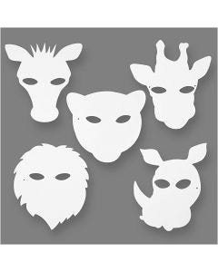 Djungelmasker, H: 22,5-25 cm, B: 20,5-22,5 cm, 230 g, vit, 16 st./ 1 förp.
