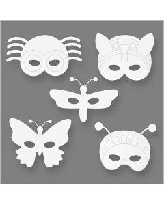 Insektsmasker, H: 14-17 cm, B: 19,5-23 cm, 230 g, vit, 16 st./ 1 förp.