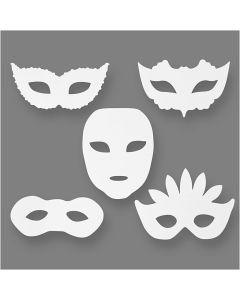 Teatermasker, H: 8,5-19 cm, B: 15-20,5 cm, 230 g, vit, 16 st./ 1 förp.