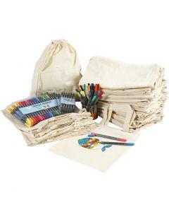 Sko- och textilkassar med tusch , stl. 27,5x30 cm, mixade färger, 1 set