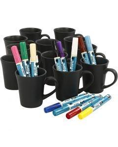 Måla svarta muggar, mixade färger, 1 set
