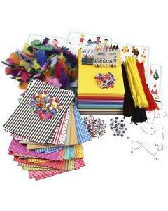 Stor förpackning med kreativt material och schabloner, mixade färger, 1 set