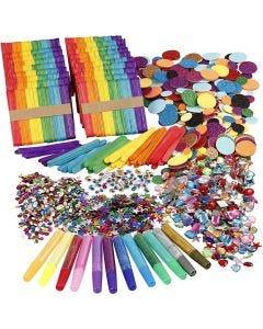 Glitter och träpinnar, mixade färger, 1 set