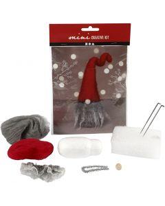 Kreativt minikit, tomtenisse m/grått skägg, H: 13 cm, 1 st./ 1 set