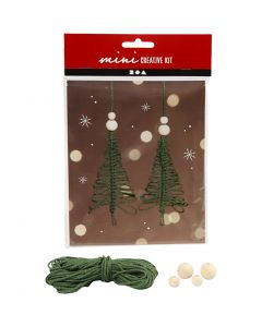 Kreativt minikit, makramé julgran, H: 11 cm, 2 st./ 1 set