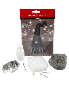 Kreativt minikit, Jultomte, H: 13 cm, gråmelerad, 1 st./ 1 set