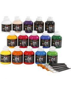Skolfärg akryl, blank, blank, mixade färger, 1 set