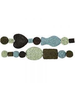 Luxury Bead Harmony, Dia. 6-37 mm, Hålstl. 2 mm, blå/grön harmoni, 1 set