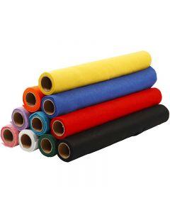Hobbyfilt, B: 45 cm, tjocklek 1,5 mm, 180-200 g, mixade färger, 10x1 m/ 1 förp.