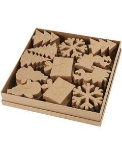 Julfigurer av papier-maché, H: 10-14 cm, 6x6 st./ 1 förp.