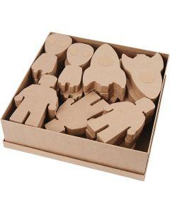 Rymdvarelser av papier-maché, H: 18 cm, tjocklek 25 mm, 3x9 st./ 1 förp.