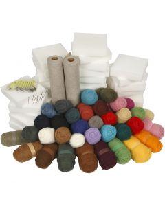 Nålfiltning - klassrumsuppsättning, mixade färger, 1 set