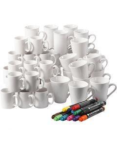 Materialset till att dekorera muggar, H: 7-10 cm, vit, 1 set