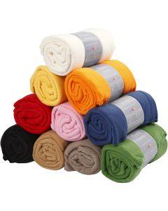 Fleece, L: 125 cm, B: 150 cm, mixade färger, 10 st./ 1 förp.