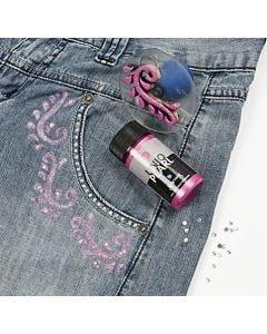 Pärlemor- och glittermotiv på textil