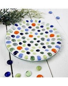 Glasfat med mosaikkonst