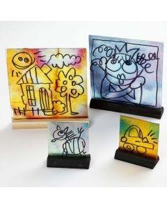 Glastavlor med akvarell