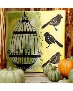 Målarduk med fågel och bur