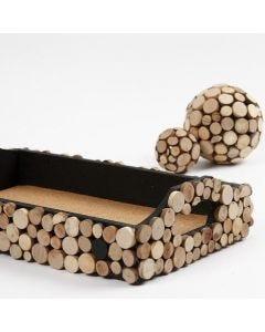 Träbricka med träskivor