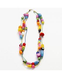 Halsband med träpärlor och glaspärlor