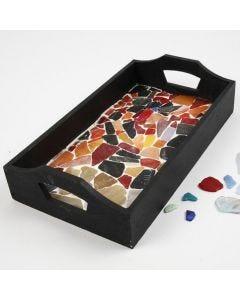 Bricka i trä med mosaik