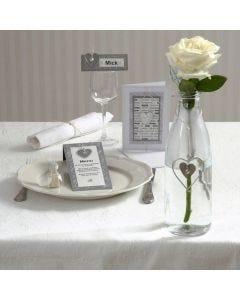Inbjudning och kort med hjärta i zink
