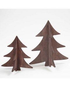 Målade 3D-julgranar i trä