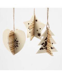Tvådelade dekorationer med träfaner och grafiska julmotiv