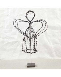 Ängel på fot i svart alutråd med diamond cut