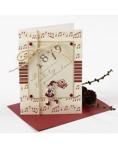 Julkort med designpapper och trätomtar från Vivi Gade
