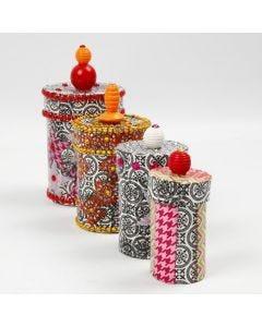 Askar av papp med decoupage, rhinstenar och pärlor