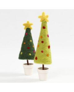 Nålfiltad julgran med toppstjärna på fot i kruka