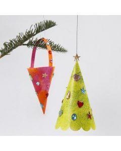 Strut och julgran med glitterfärg och rhinestones.