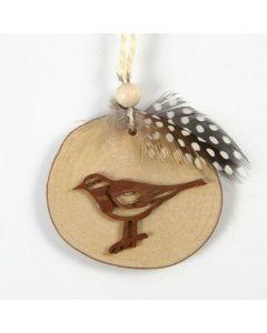 Linsnöre med fågel på träskiva, dekorerad med pärlhönsfjäder