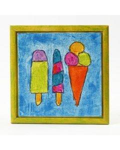 Tavla med glitterfärg och tusch på målarplatta i ram