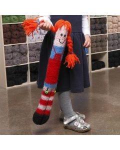 Lång kramgo docka, stickad och valkad