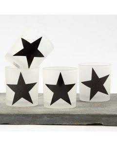 Ljusglas med stjärnor av designpapper