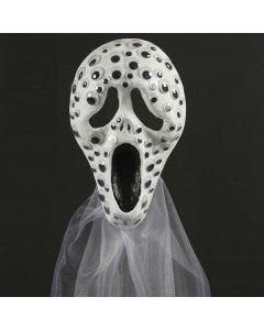 Mask, dekorerad med rörliga ögon och organzatyg