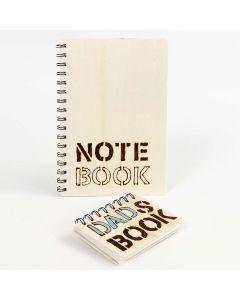 Notisbok med träomslag, dekorerad med glödpenna