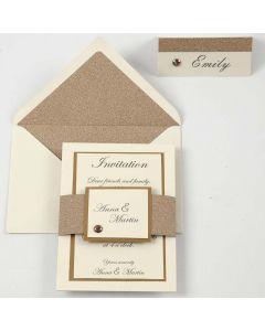 Inbjudning och placeringskort/bortskort i råvit och koppar